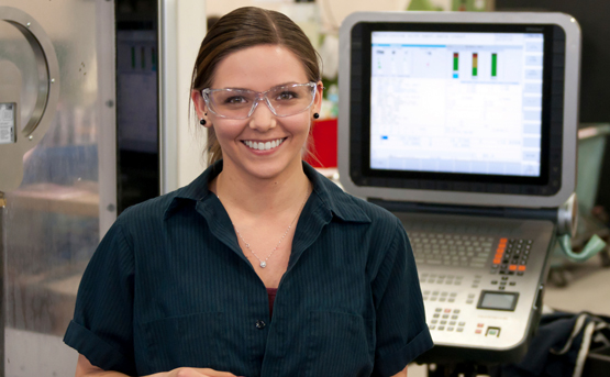 People Image young female smiling with safety goggles